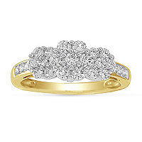 10K Gold 1 ct tw Diamond Cluster Ring