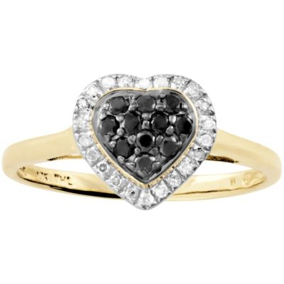 10K Gold Black & White Diamond Heart Ring Size 9
