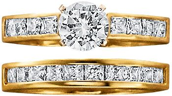 18K Gold Over Silver CZ Engraved Bridal Set Size 6