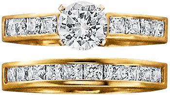 18K Gold Over Silver CZ Engraved Bridal Set Size 6