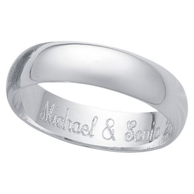 Platinum Plated Sterling Silver Message Band