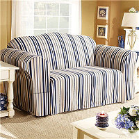 Indigo Stripe Loveseat Cover
