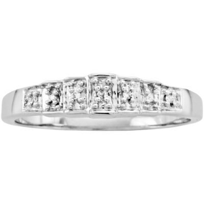 10K White Gold Contemporary Step Ring White Gold size 8