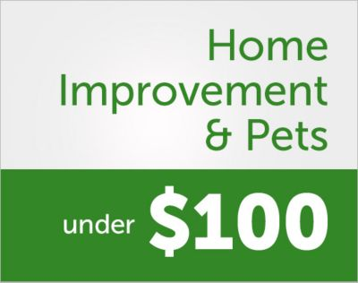 Home Improvement & Pets. Savings you'll love. Under $100.