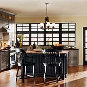 Belgrade Maple River Rock & Heirloom Black Paint Kitchen Cabinets