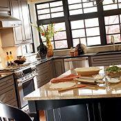 Belgrade Maple River Rock & Heirloom Black Paint Kitchen Cabinets