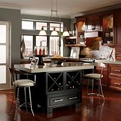 Blakely Cherry Sangria and Blakely Maple Black Paint Kitchen Cabinets