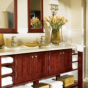 Blakely Maple Cranberry Bathroom Cabinets