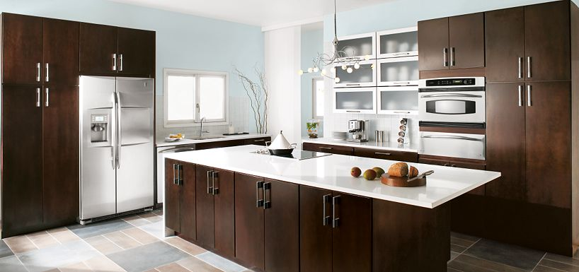 Blythe cherry chocolate by thomasville cabinetry for Can you paint non wood kitchen cabinets