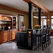 Cabbott Maple Whiskey Black Glaze and Plaza Maple Heirloom Black Paint Other Cabinets