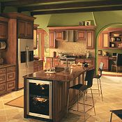 Camden Cherry Whiskey Black Glaze Kitchen Cabinets