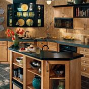 Cottage Cherry Natural with Black Accents Kitchen Cabinets