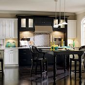 Fayette PureStyle™ Laminate White with Eden Maple Black Paint Kitchen Cabinets