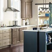 Russell Maple Heather Gray, Khaki and Blue Slate Kitchen Cabinets Kitchen Cabinets