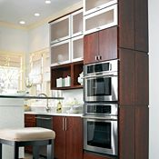 Blythe Cherry Cinnamon with Aluminum-Frame Top-Hinge Doors Kitchen Cabinets