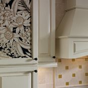 Plaza Maple Amaretto Crème Glaze with Plaza Oak Chocolate, featuring Custom Insert Panels Kitchen Cabinets