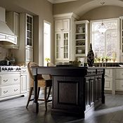 Plaza Maple Amaretto Crème Glaze with Plaza Oak Chocolate Kitchen Cabinets