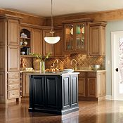 Plaza Maple Palomino Glaze with Heirloom Black Paint Kitchen Cabinets