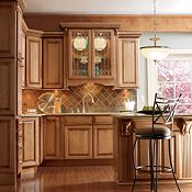 Plaza Maple Palomino Glaze Kitchen Cabinets