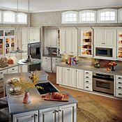 Plaza Maple Toasted Almond Glaze Kitchen Cabinets