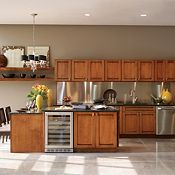Saxony Maple Whiskey Black Glaze Kitchen Cabinets