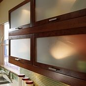 Top-Hinge Glass Doors with Wood Frame