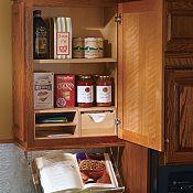Unité de rangement pour livre de cuisine et recettes pour armoire murale