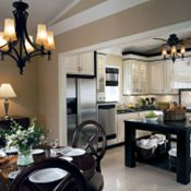 Villa Maple Toasted Almond Glaze & Black Kitchen Cabinets