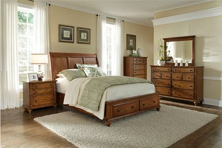 Hayden Place -  Oak,  Storage Sleigh Bed