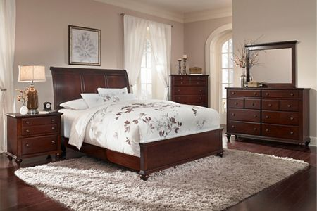 Hayden Place -  Dark Cherry,  Sleigh Bed