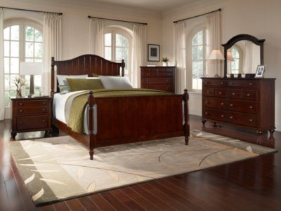 Hayden Place -  Dark Cherry,  Panel Bed