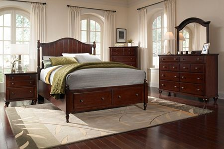 Hayden Place -  Dark Cherry,  Panel Storage Bed