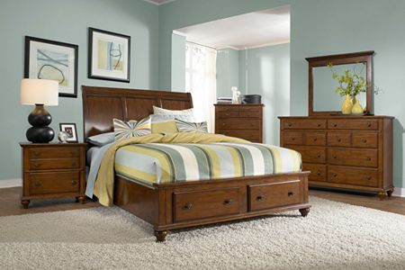 Hayden Place -  Light Cherry,  Sleigh Storage Bed
