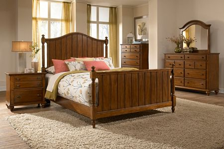 Hayden Place -  Light Cherry,  Panel Bed