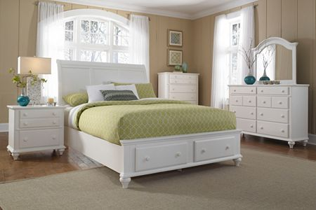 Hayden Place -  White, Storage  Sleigh Bed