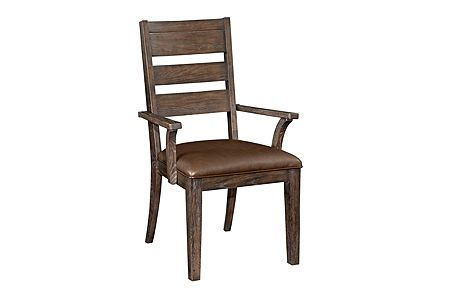 Attic Retreat Performance Leather™ Seat Ladderback Arm Chair