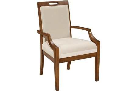 Suede Upholstered-Seat-and-Back Arm Chair