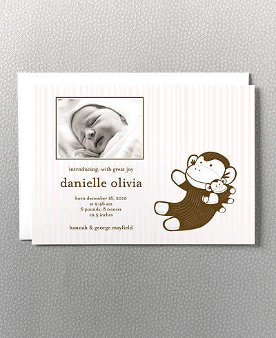 Baby Monkey Photo Birth Announcement