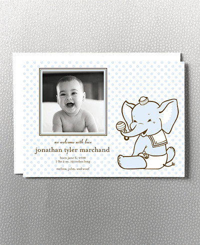 Diapered Elephant Birth Announcement