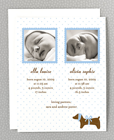 Doggie Twin Birth Announcement