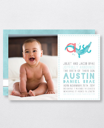 A is for Alligator (Boy) Birth Announcement