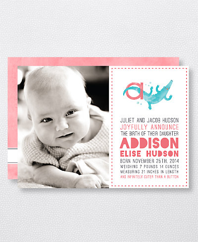 A is for Alligator (Girl) Birth Announcement