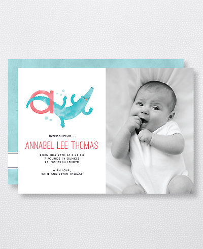 A is for Alligator (Modern) Birth Announcement