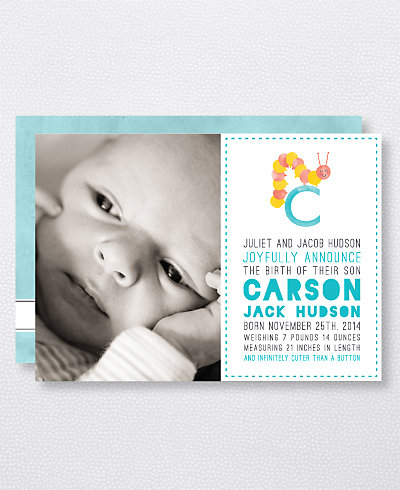 C is for Caterpillar (Boy) Birth Announcement
