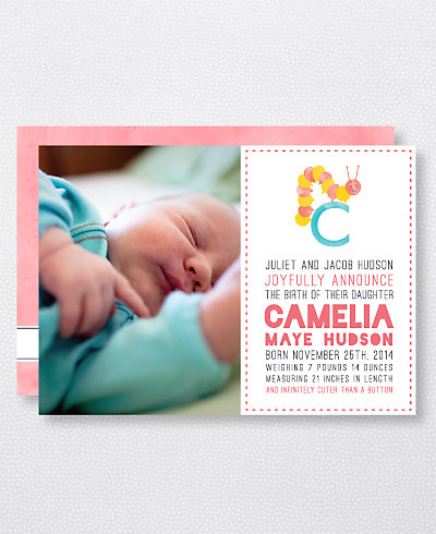 C is for Caterpillar (Girl) Birth Announcement