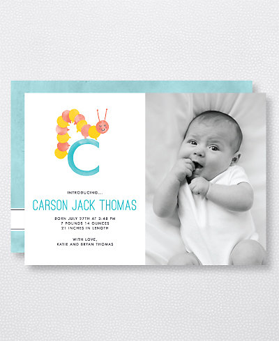 C is for Caterpillar (Modern) Birth Announcement