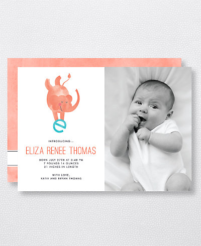 E is for Elephant (Modern) Birth Announcement