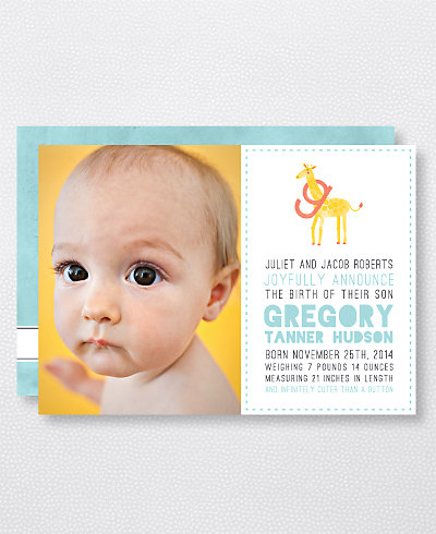 G is for Giraffe (Boy) Birth Announcement