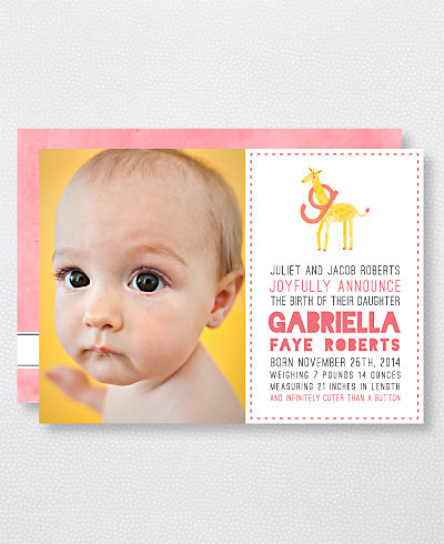 G is for Giraffe (Girl) Birth Announcement