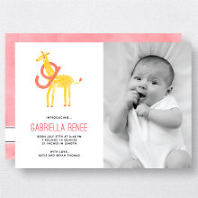 G is for Giraffe (Modern): Birth Announcement